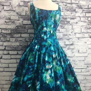 Jones of NY Green Blue Pinup Fit Flare Dress